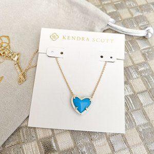 Kendra Scott Ari Heart Necklace Gold Turquoise